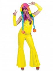 Déguisement combinaison jaune fluo femme