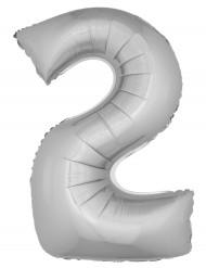 Ballon aluminium géant chiffre 2 argenté 1m