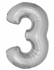 Ballon aluminium chiffre 3 argenté 102 cm