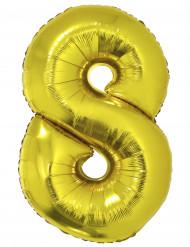 Ballon aluminium géant chiffre 8 doré 1m