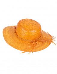 Chapeau de paille vintage orange femme