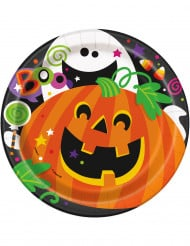 8 Petites assiettes en carton Citrouille et compagnie Halloween 18 cm