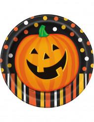 8 Assiettes en carton Citrouille souriante Halloween 23 cm