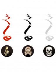 3 Suspensions spirale halloween squelette 60cm
