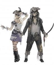 Déguisement de couple fantôme pirate Halloween