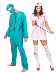Déguisement de couple zombie chirurgien et infirmière Halloween