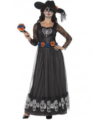 Déguisement mariée robe longue noire femme Dia de los muertos