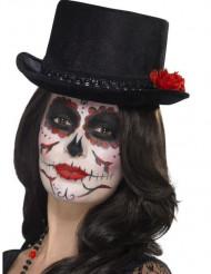 Chapeau haut de forme noir adulte Dia de los muertos