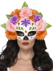 Demi masque roses multicolores adulte Dia de los muertos