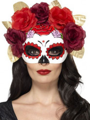 Demi masque roses rouges adulte Dia de los muertos