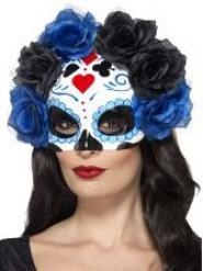 Demi masque atouts avec roses noires et bleues adulte Dia de los muertos
