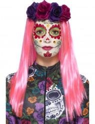 Kit maquillage coloré aux faux cils et bijoux femme Dia de los muertos