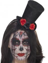 Mini chapeau avec roses et voile femme Dia de los muertos
