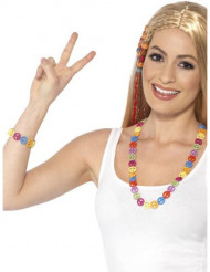 Bracelet et collier hippie multicolore adulte