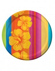 8 Assiettes en carton Hawaï - 23 cm