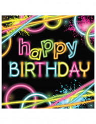 16 Petites serviettes en papier Happy birthday glow party 16 x 16 cm