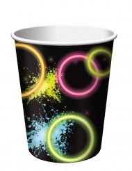 8 Gobelets en carton Glow Party 266 ml
