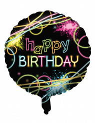 Ballon aluminium Happy birthday Fluo Party 45 cm