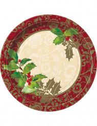8 assiettes en carton Houx de Noël 23 cm