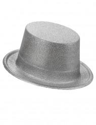 Chapeau haut de forme plastique pailleté argent adulte