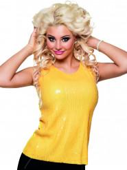 Top à sequins jaune fluo femme