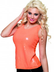 Top à sequins orange fluo femme