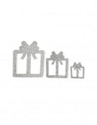 6 Décorations de table cadeaux argent 3, 5 et 7 cm