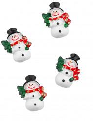 6 Bonhommes de neige adhésifs 3 cm