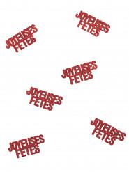 6 Confettis Joyeuses fêtes rouge