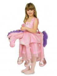 Déguisement princesse à dos de cheval rose fille