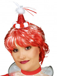 Mini chapeau de clown rouge avec pompons adulte
