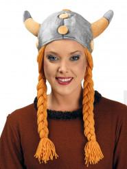 Casque viking avec tresses velours adulte