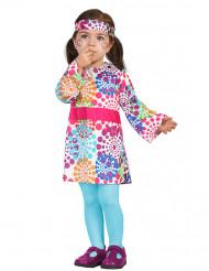 Déguisement hippie robe multicolore à pois bébé