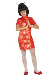 Déguisement robe chinoise rouge et doré fille