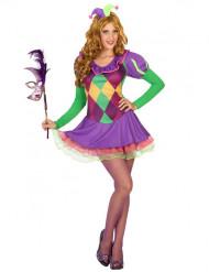 Déguisement arlequin violet femme