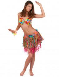Jupe hawaïenne courte multicolore avec fleurs adulte