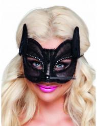 Loup chat en dentelle noire femme