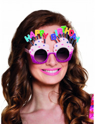 Lunettes Happy Birthday cupcake adulte