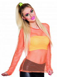 T-shirt fluo orange années 80 femme