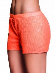 Shorty à sequins orange fluo femme