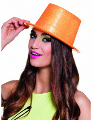Chapeau haut de forme orange fluo à paillettes adulte