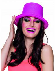 Chapeau haut de forme rose fluo à paillettes adulte