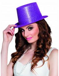 Chapeau haut de forme violet à paillettes adulte