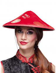 Chapeau chinois rouge adulte