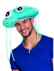 Chapeau méduse bleue en peluche adulte