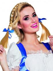 Serre tête nattes avec noeuds bleus adulte