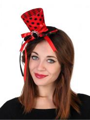 Mini chapeau haut de forme rouge à pois femme