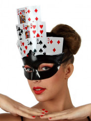 Loup noir cartes poker femme