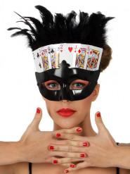 Loup noir cartes poker avec plumes femme
