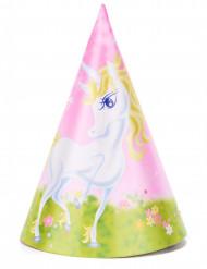 6 Chapeaux de fête Licorne girly 16 cm